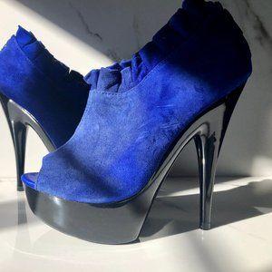 B2 Blue ruffle heels